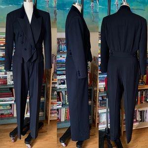 Vintage 80s 90s Escada Tuxedo Jumpsuit 42 L XL